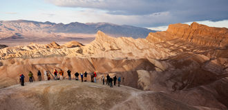 Tourists at Zabriskie Point in Death Valley. National Park, California Royalty Free Stock Photography
