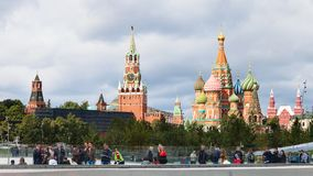 Tourists in Zaryadye park and view of Kremlin Royalty Free Stock Image