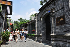 Tourists in the Zhai ALLey of Chengdu. Zhai Alley is a Chinese old-style alley, and it is one of the three conservation districts of historic sites of Chengdu Stock Photography