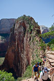 Tourists in Zion national park royalty free stock image