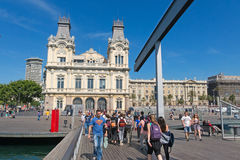 Touristst at the lower end of La Rambla. Barcelona, Spain Stock Image