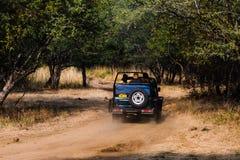 Tourit auf Safarifahrzeug an Ranthambore-Wald stockfotografie