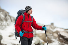 Touritst hiker on cold weather Royalty Free Stock Image