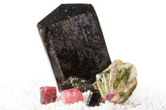 Tourmaline crystals Stock Images