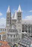 Tournai cathedral. View (from the belfry) on the cathedral in Tournai and his towers (5, 4 visible Royalty Free Stock Photography