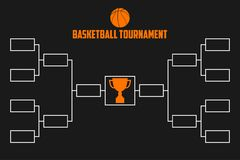 Tournament Bracket. Basketball championship scheme with trophy cup. Sport illustration. Vector. Tournament Bracket. Basketball championship scheme with trophy Royalty Free Stock Image
