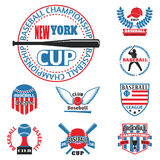 Tournament competition graphic champion professional blue red baseball logo badge sport vector. Stock Photos
