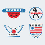 Tournament competition graphic champion professional blue red baseball logo badge sport vector. Royalty Free Stock Photos