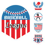Tournament competition graphic champion professional blue red baseball logo badge sport vector. Stock Photography