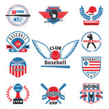 Tournament competition graphic champion professional blue red baseball logo badge sport vector. Baseball badge sport logo team identity vector illustration Royalty Free Stock Photography