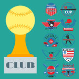 Tournament competition graphic champion professional blue red color baseball badge sport vector. Royalty Free Stock Photos