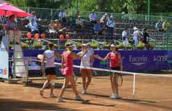 Tournament double final. Final of the double ladies tennis match of BCR Ladies Open Romania, 18-23 July 2011 at Herastrau Tennis Academy in Bucharest. Players Stock Photo
