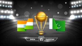 Tournament participating countries flags with text India and Pakistan. vector illustration