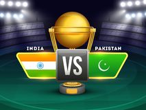 Tournament participating countries flags with text India and Pakistan. stock illustration