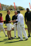 Tournament presenter and grand master Gary Player shaking hands Stock Photo