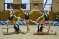 Tournament of rhythmic gymnastics Royalty Free Stock Photo