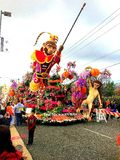 2017 Tournament of Roses `The Monkey King` float on display in the post-parade area in Pasadena, California * January 2, 2017. Camera used: Canon PowerShot SX160 Stock Photos