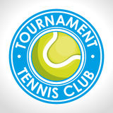 Tournament tennis club blue badge. Vector illustration eps 10 Stock Photo