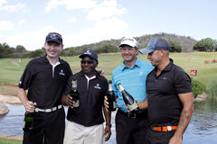 TOURNAMENT WINNERS. NOVEMBER 17: Gary Player Charity Invitational Golf Tournament November 17, 2013, Sun City, South Africa. From left businessmen Anthony royalty free stock photos