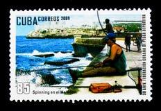 Tournant dans le Malecon, 30ème anniversaire du Cubain F de pêche Image libre de droits