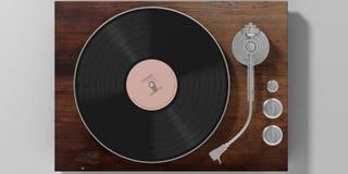 Tourne-disque de LP de vinyle d'isolement sur le fond gris, vue supérieure illustration 3D illustration libre de droits