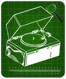 Tourne-disque sur un fond vert illustration libre de droits
