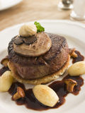 Tournedos Rossini with Cocotte Potatoes. High angle view stock images