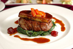 Tournedos Rossini. Steak with foie gras. french steak dish with foie gras and croutons Stock Photo