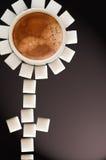 Tournesol de cube en café et en sucre Photographie stock libre de droits
