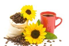 Tournesol 2 de tasse de Coffeebeans Photographie stock