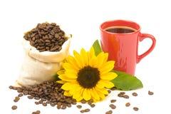 Tournesol 3 de tasse de Coffeebeans Photographie stock libre de droits