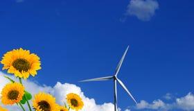 Tournesol et vent-turbine Image libre de droits