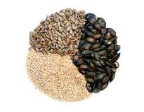 Tournesol, sésame, et mélange rôtis d'isolement de graine de citrouille Image stock