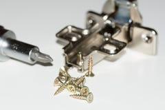 Tournevis avec des vis et des charnières en métal Photo stock