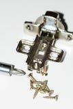 Tournevis avec des vis et des charnières en métal Photographie stock