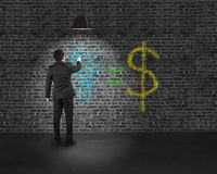 Tournez dessus la lumière avec l'idée est des griffonnages de concept d'argent Images stock