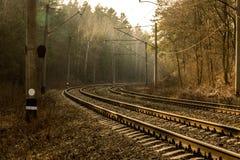 Tournez la route Mesure de fer Tours de route vers la droite Chemin de fer dans les bois photos libres de droits