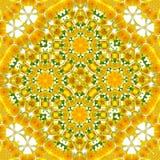 Tournez le modèle floral de pissenlit de jaune de kaléidoscope de cercle photographie stock