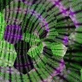 Tournez les lignes diagonales de patchework ou d'édredon effet tricoté hexagonal de modèle en vert et violet illustration de vecteur