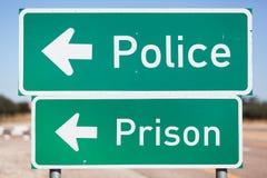 Tournez-vous à gauche vers la police et la prison Photos stock