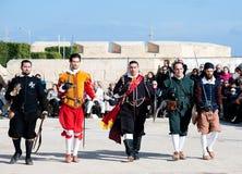 Tournoi dans le cavalier de St Johns de château, Malte photographie stock libre de droits