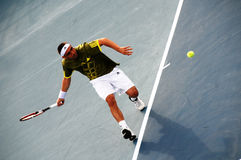 Tournoi de tennis de Coupe Davis avec Markos Pagdatis photographie stock