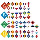 Tournoi européen du football tout le drapeau de concurrents assorti par Leag illustration de vecteur
