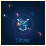 Touro da constelação do vetor com o sinal do zodíaco ilustração royalty free