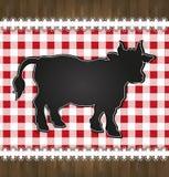 Touro da vaca do laço da toalha de mesa do menu do quadro-negro Imagens de Stock Royalty Free