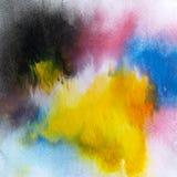 Touro de carregamento amarelo da arte contemporânea moderna acrílica do sumário imagens de stock