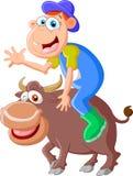 Touro dos desenhos animados com homens da equitação Imagem de Stock Royalty Free