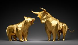 Touro e urso dourados ilustração royalty free