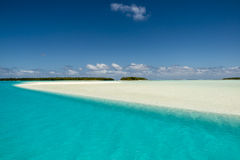 Turquise Water, white Sandbar, small islands, South Pacific Ocean, Aitutaki Stock Photography