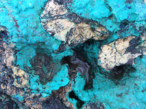 Tourquoise and black mineral surface Royalty Free Stock Image